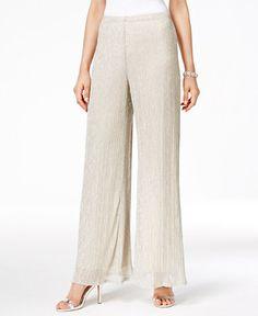 fd7910f95ca MSK Metallic Knit Palazzo Pants Women - Pants   Capris - Macy s