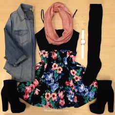 Black spaghetti strap tank top   floral high waisted skirt   black thigh high socks   black ankle boots   denim button up   coral scarf