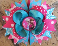 Frozen Princess Anna Elsa Custom Boutique Hair Bow for Disney World Vacation