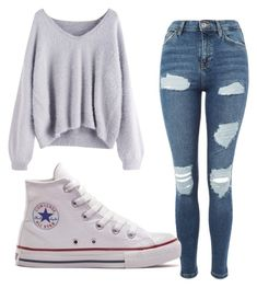 """Sweater 3"" by denisesheldon on Polyvore featuring Topshop and Converse"