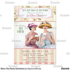 Shop Retro Tea Party Invitation created by PaperandPomp. Personalize it with photos & text or purchase as is! Retro Wedding Invitations, Tea Party Invitations, Bridal Shower Invitations, Invites, Modern Invitations, Invitation Ideas, Bridal Shower Tea, Tea Party Bridal Shower, Baby Shower Parties