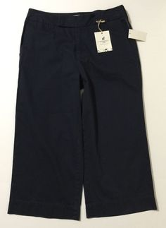 Caribbean Joe Women's Navy Blue Hurricane Twill Capr's Cropped Pants Size 10 NWT #CaribbeanJoe #CaprisCropped
