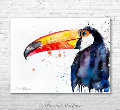 Toco Toucan watercolor painting print by Slaveika Aladjova