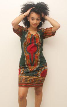 Robe crayon wax dashiki vert by AfricanStyleAS | Etsy