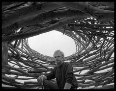 "Portrait of sculptor Andy Goldsworthy by Nicolai Klimaszewski.  Andy worked on farms as a youth and he has likened the repetitive quality of farm tasks to the routine of making sculpture: ""A lot of my work is like picking potatoes; you have to get into the rhythm of it."""