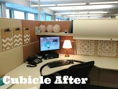 Cute cubicle makeover! There's a full budget breakdown and details on this blog.