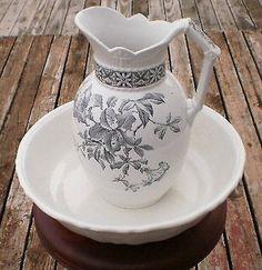 Antique Pitcher Wash Basin Bowl Johnson Bros. Ironstone Black/White Floral