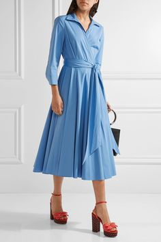 Sky-blue cotton-blend poplin Ties at front 96% cotton, 4% spandex Dry clean Designer color: Cadet