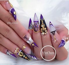 Beautiful Nail Designs To Finish Your Wardrobe – Your Beautiful Nails Glam Nails, Dope Nails, Fancy Nails, Bling Nails, 3d Nails, Nail Nail, Coffin Nails, Purple Stiletto Nails, Bling Nail Art