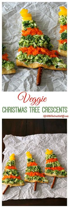 "Veggie Christmas Tree Crescents, Perfect for the holidays! You can make these in no time and ""decorate"" them with whatever veggies you like! #holidays #appetizer #crescents"
