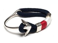 Navy Blue Anchor Rope Bracelet - Silver