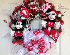 Disney Christmas Wreath, Mickey and Minnie Mouse Wreath