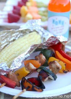 Super easy shish kabobs and grilled corn