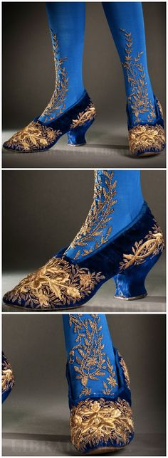 Evening shoes belonging to Grand Duchess Louise of Baden (née Princess Louise of Prussia, 1838-1923). 1890s. Velvet with gold embroidery. Helen Larson Historic Fashion Collection, via the FIDM Museum Blog.