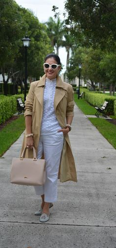 Susana Fernandez | A Key to the Armoire <Rainy Day outfit + white pants + Tory Burch +Longchamp Honore 404 + Jord Cora + Wood watch + pearls + trench coat + Embroidered slipper loafers + Marc Jacobs + White sunglasses + guipure top>