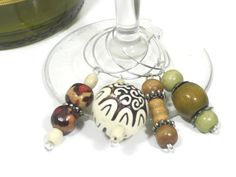 Wooden Bead Wine Glass Charms Wood Wine Glass by cynhumphrey, $7.95