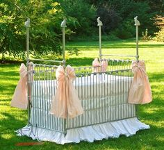 A sweet 4 post crib topped with bunny finials.  You can have this in any finish you like. I also list it in white.