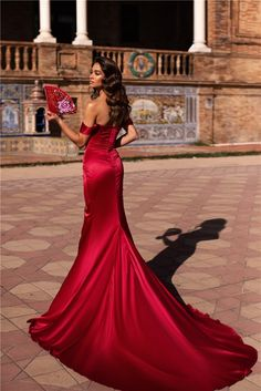 Mermaid Evening Dress Red Silk Satin Off The Shoulder High Slit With Train Straps Prom Dresses, Beaded Prom Dress, Cheap Prom Dresses, Prom Party Dresses, Dresses With Sleeves, Beaded Chiffon, White Chiffon, Silk Dress, Dress Red