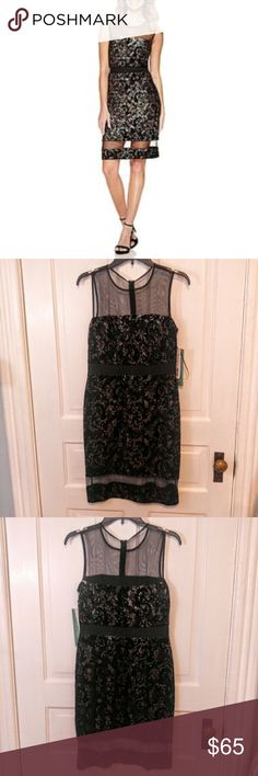 Scarlett Black Metallic Velvet Cute Cocktail Dress Scarlett Black Metallic Velvet Sleeveless Party Dress with Mesh Inlays.  New with tags! This dress is the perfect happy hour dress or even a show stopper for weddings, a graduation or new years. Size 6. Scarlett Dresses Midi