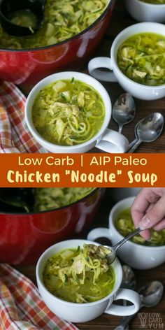 Spiralized zucchini replaces the usual pasta in this delicious keto low carb chicken noodle soup. It's an #AIP #paleo recipe that's pure comfort in a bowl. | LowCarbYum.com via @lowcarbyum