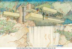 Frank Lloyd Wright sketch of Fallingwater.  What a creative mind! Www.coachadhd.com