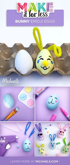 Hop to it with this cute how-to! These adorable DIY Bunny Emoji Easter Eggs are a fun project to MAKE this Easter season. Emoji Easter Eggs, Hoppy Easter, Easter Bunny, Spring Crafts, Holiday Crafts, Holiday Fun, Bunny Emoji, Diy And Crafts, Crafts For Kids