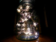 Mason Jar Twinkle Stars by GlitterAndMasonJars #Mason_Jar #Twinkle_Lights