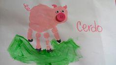Cerdo, pig, animales de la granja, farm animals art handprint