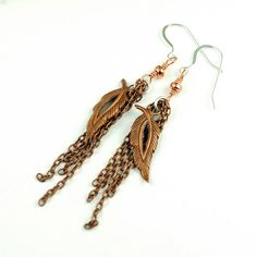 copper earrings with chain and leaves. pretty much in love ;)