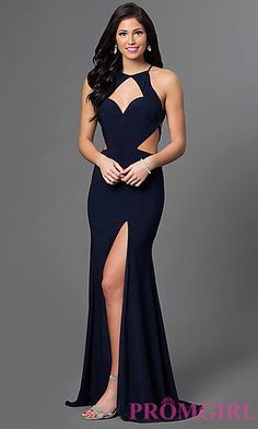 Long Sweetheart Dress with Cut Outs by Alyce at PromGirl.com