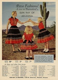 50s patio dress print ad red black full skirt western wear squaw dresses by Millie Motts, via Flickr