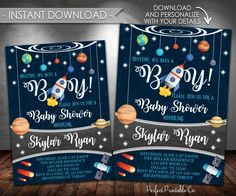 Outer Space Baby Shower Invitation, Planet Baby Shower Invitation, Solar System, It's a Boy, Instant Download, Printable #586 by PerfectPrintableCo on Etsy