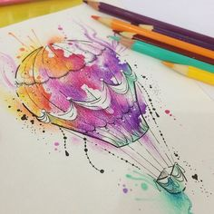 Entry by for our Inked competition. Cool Art Drawings, Drawing Sketches, Cartoon Drawings, Watercolor Sketch, Watercolor Artwork, Tattoo Illustration, Air Balloon Tattoo, Pen Art, Cool Paintings