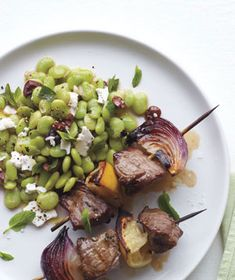 Lamb Kebabs With Lima Bean Salad