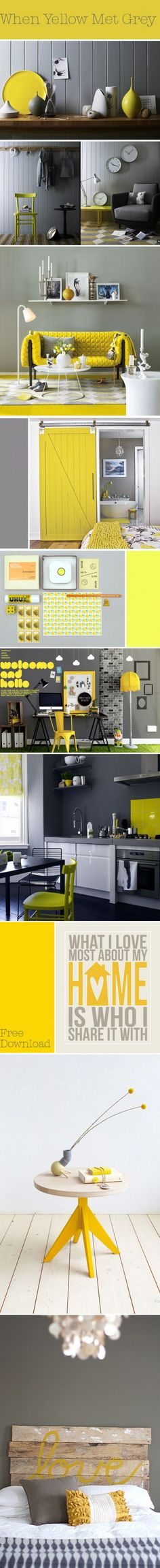 When Yellow Met Grey.  Redoing the girls bathroom soon and these our the colors we picked.