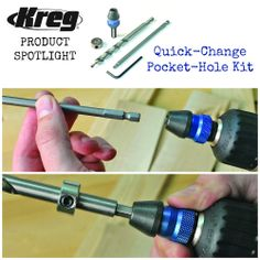 Product Spotlight: Quick-Change Pocket-Hole Kit   Did you know that Kreg has a simple kit that provides everything you need to switch from drilling pocket holes to driving pocket screws in just seconds? This transition is made easy with the Quick-Change Pocket-Hole Kit.