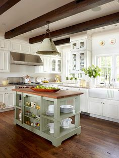 Like the white ceilings to brighten the kitchen and the wood beams.