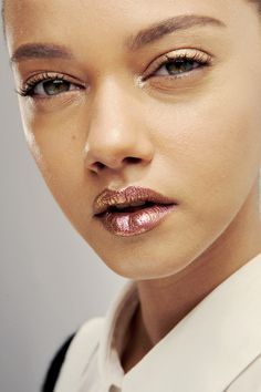 Rose gold lips at Dior Couture 2014. OCC Lip Tar in Electric Grandma