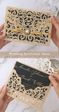 Unique Gold Glitter Laser Cut Pocket Wedding Invitations for Black and Gold Weddings