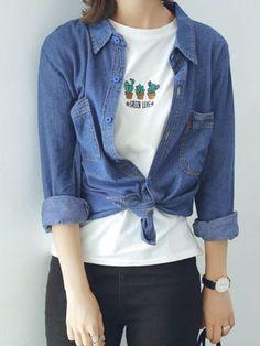 Blue Pocket Button Long Sleeve Loose Denim Shirt   Choies  #clothings #fashionapparel #trend #gift #stylish #sale #style #fashion #Cardigan #apparel #clothing #clothingline #christmas #palysuit #shoes #boot #plimsolls #shippingonline #newarrivals