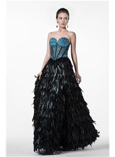 Sexy A-Line Natural Waistline Sweetheart Feather Beading Evening Dress