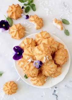 Easy coconut macaroons, chewy, flourless, dairy and gluten free, without any condensed milk. Just coconut, egg whites, sugar and vanilla!