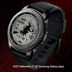 ACD Halloween 03 @ Samsung Galaxy Apps  Halloween themed watch face with 13 background color that can be changed by double tapping the screen.  #gears2 #gears3 #samsunggear #halloween #holiday #witch #moon #multicolor #smartwatch #accesories
