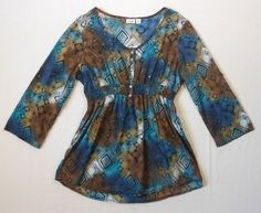 Cato Womens Top Boho Brown Tan White Blue Embellished Floral 3/4 Sleeve Size XL #Cato #Peasant #Casual