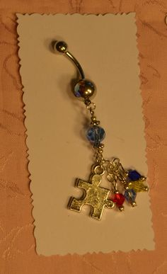 Puzzle Piece Autism Awareness Rhinestone Crystal Belly Button Jewelry by crafts4thecure, ♥etsy♥$12.50