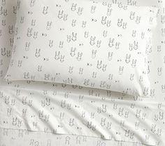 Organic The Emily & Meritt Bunny Standard Pillow Case, Black/white