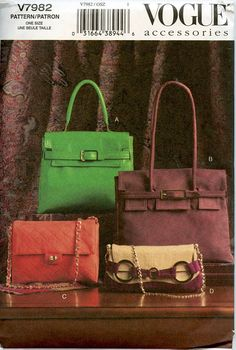 Vogue 7982 HANDBAGS PURSE BAG Sewing Pattern Bag  UNCuT - Very Rare