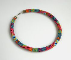 Made to order Bead Crochet Necklace Bright colors by LGreenBeads, $46.00