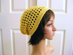 Crocheted Slouch Beanie HatYellowBohoLacy by RoseJasmine on Etsy, $20.00