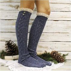 NORDIC tall lace boot sock - vintage blues